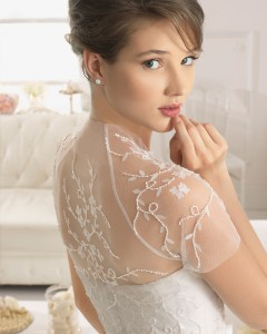 Brudekjole toppe - Alesia i tyl med perler.