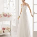 Brudekjole 2016 Magenta i tyl med blondestropper