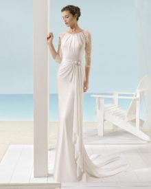 Brudekjole Xincas i satin med lange blondeærmer