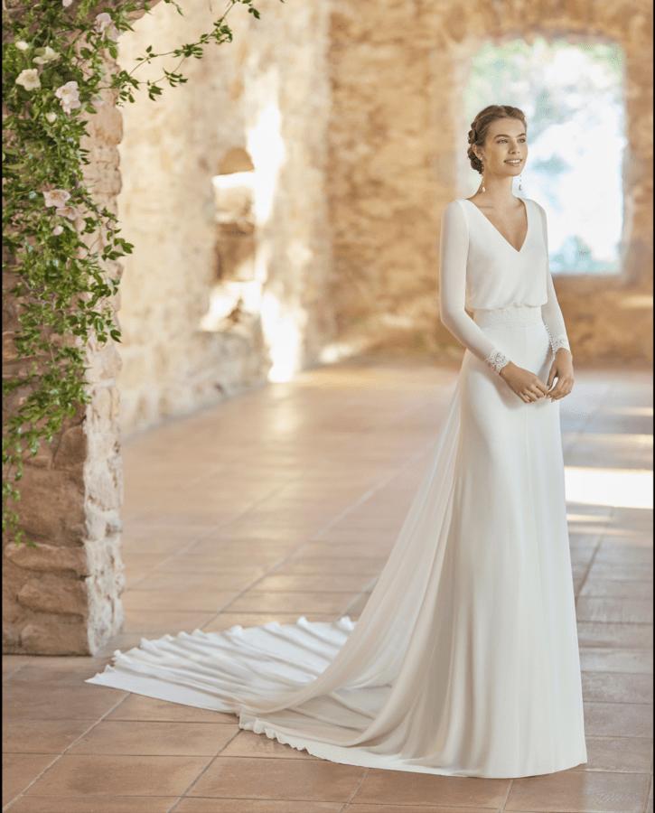 Brudekjoler 2022 - Palermo i chiffon med blondekant på ærmer